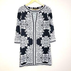 BCBG MaxAzria Black Grey Print Sheath Dress Small